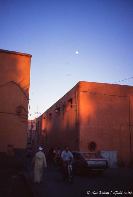 マラケシュの町。ピンク色の土壁のせいか、日に当たると余計赤みが増す